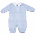 Sarah Louise Baby Boys Light Blue Cable Knit Sweater Romper with Collar