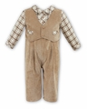 Sarah Louise Baby Boys Tan Corduroy Vested Outfit with Plaid Shirt