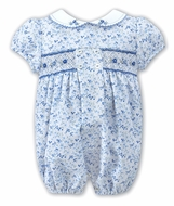 Sarah Louise Baby Girls Blue Floral Smocked Bubble with Embroidered Collar