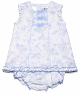 Sarah Louise Baby Girls Blue Toile Linen Blend Bloomers Set with Bows