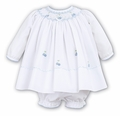 Sarah Louise Baby Girls Smocked Dress with Bloomers - White Smocked in Blue