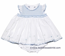Sarah Louise Baby Girls Sweet White Dress - Smocked in Blue with Bloomers / Flyaway Back