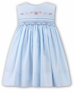 Sarah Louise Baby / Toddler Girls Smocked Sleeveless Blue Dress - Embroidered Pink Flowers