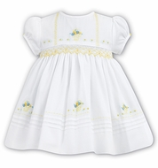 Sarah Louise Baby / Toddler Girls White Dress - Smocked in Yellow - Embroidered Easter Baskets