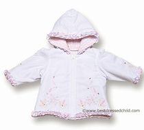 Sarah Louise Baby / Toddler Girls White / Pink Hooded Spring Zip Front Jacket with Flower Embroidery