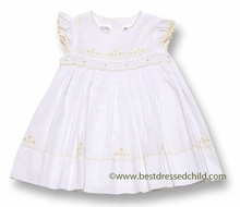 Sarah Louise Baby / Toddler Girls White Smocked Dress with Flutter Sleeves / Yellow Embroidery