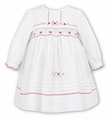 Sarah Louise Baby / Toddler Girls Winter White Dress - Smocked in Cerise Pink
