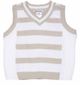 Sarah Louise Boys Dressy White / Tan Striped V-Neck Sweater Vest