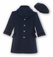 Sarah Louise Boys Navy Blue Wool / Cashmere Blend Dress Coat with Hat
