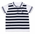 Sarah Louise / Dani Boys Navy Blue / White Striped Sailboat Polo Sweater
