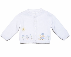 Sarah Louise / Dani Girls Easter Bunny Embroidery Cardigan Sweater - White / Blue