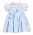 Sarah Louise / Dani Girls Embroidered Easter Bunny Jumper / Blouse Set - Blue
