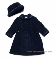 Sarah Louise Girls Beautiful Navy Blue Wool / Cashmere Dress Coat with Cording Trim and Hat