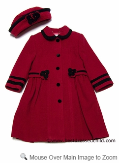 Sarah Louise Girls Dressy Red Wool Dress Coat With Hat