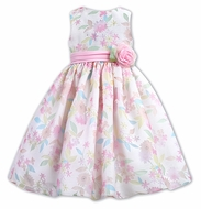 Sarah Louise Girls Pink & Pastel Floral Sleeveless Fancy Party Dress