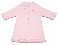 Sarah Louise Girls Pink Ruffled Cable Knit Sweater Coat