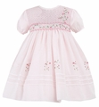 Sarah Louise Girls Pink Smocked Flower Trellis Dress - Short Sleeves