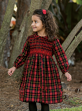 Sarah Louise Girls Red Christmas Plaid Smocked Dress With