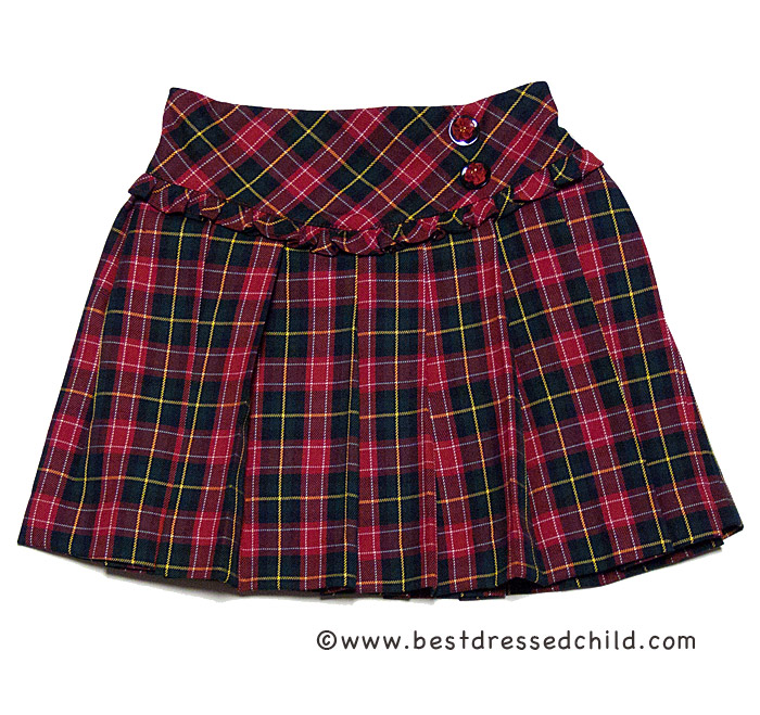 louise pleated plaid skirt with ruffle