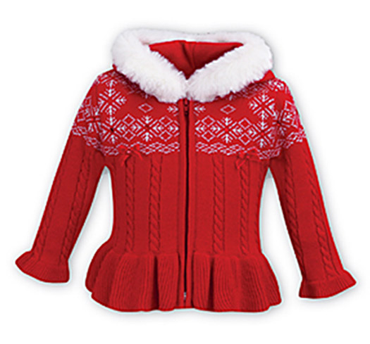 Sarah Louise Girls Red Peplum Snowflake Christmas Sweater