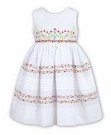 Sarah Louise Girls Sleeveless White Dress - Floral Trim & Embroidery Bodice