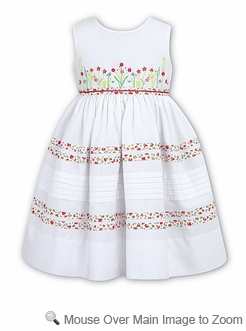 sarah louise girls sleeveless white dress floral trim
