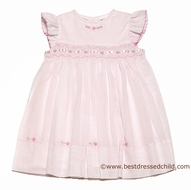 Sarah Louise Girls Sweet Pink Smocked Dress with Flutter Sleeves and Ribbon Trim