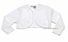 Sarah Louise Girls White Bolero Sweater with Pearl Embroidery Details