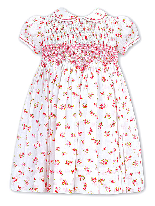 Sarah Louise Girls White Dotted Swiss Pink Floral