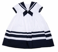 Sarah Louise Girls White / Navy Blue Classic Sailor Suit Dress