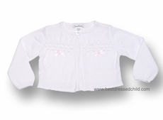 Sarah Louise Girls White / Pink Smocked Cardigan Sweaters with Pink Bows
