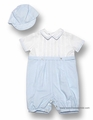 Sarah Louise Infant Baby Boys Dressy Romper with Hat - Light BLUE