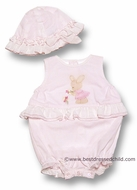 Sarah Louise Infant Baby Girls Pink Ruffle Bubble with Easter Bunny and Bonnet