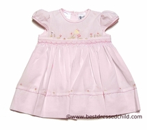 Sarah Louise Infant Baby Girls Pink Smocked Dress with Embroidery Spring Flowers