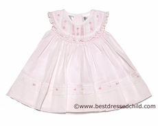 Sarah Louise Infant Baby Girls Sweet Pink Embroidered Smocked Dress with Bloomers
