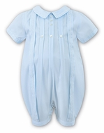 Sarah Louise Infant Boys Light Blue Romper with Embroidery Details