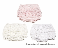Sarah Louise Infant Girls Ruffled Panty Diaper Cover - White or Ivory or Pink