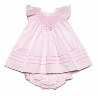 Sarah Louise Infant Girls Sweet Pink Smocked Dress with Flutter Sleeves & Bloomers