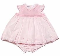 Sarah Louise Infant Girls Sweet Pink Smocked Dress with Flyaway Back & Bloomers