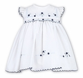 Sarah Louise Infant Girls White Dress - Smocked in Navy & Light Blue