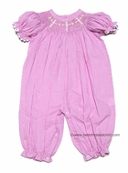 Secret Wishes Baby / Toddler Girls PINK Gingham Smocked Crosses BUBBLE