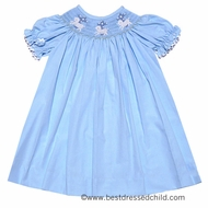 Secret Wishes Girls Blue Worthy are the Lambs Smocked Easter Sheep & Crosses DRESS