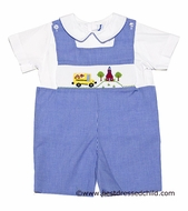 Silly Goose Baby / Toddler Boys Blue Gingham Smocked School House / Bus Shortall with Shirt