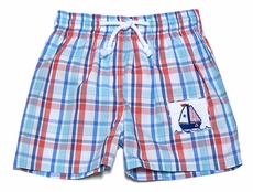 Silly Goose Baby / Toddler Boys Blue / Red Plaid Smocked Sailboat Swim Trunks