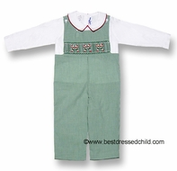 Silly Goose Baby / Toddler Boys Green Check Smocked Candy Canes LONGALL with Shirt