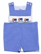 Silly Goose Baby / Toddler Boys Royal Blue Check Smocked Trucks Sunsuit