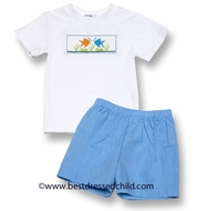 Silly Goose Boys Blue Shorts with Smocked Fish Shirt