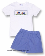 Silly Goose Boys Smocked Construction Trucks Shirt with Blue Check Shorts