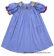 Silly Goose Girls Blue Gingham Smocked Back to School Bus Dress - Bishop