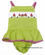 Silly Goose Girls Green Gingham Ruffle Swimsuit - Smocked Watermelons